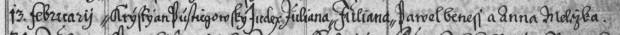 Juliana Pustějovská - narození 1700 - N_inv_c_2118_sig_NJ_XIII_2_1700_-_1759_stramberk-_Libhos--_Rybi-_Zavisice-_zenklava-_Koprivnice_0129-výřez