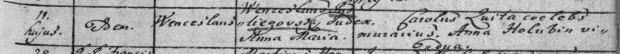 Narození Kateřiny roku 1761, dcery Anny Marie a Václava označeného jako iudex